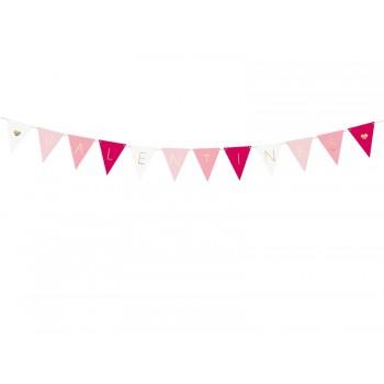 Girlanda papierowa Flagietki Flagi Valentines 2,1m