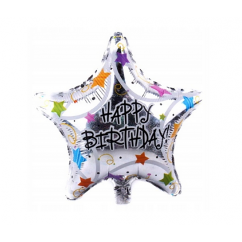 Balon foliowy holograficzny 18cali - Happy Birthday