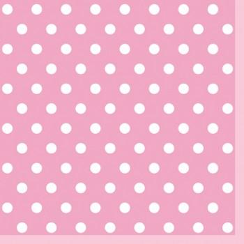 Serwetki Kropki Różowe - papierowe 33x33