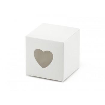 Pudełeczka z sercem 10szt - biały, 5cm