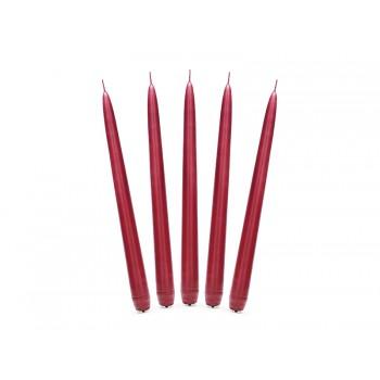 Świeca stożkowa matowa 24cm - czerwona