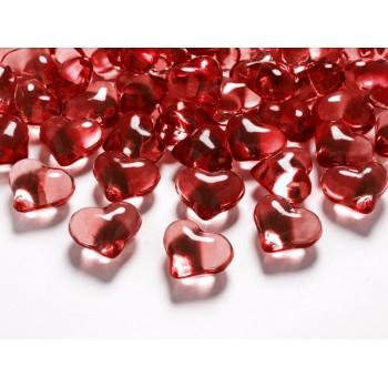 Kryształowe serca 30szt - czerwone 21mm