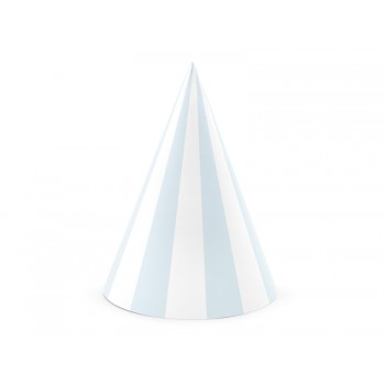 Czapeczki 6szt papierowe jasnoniebieskie