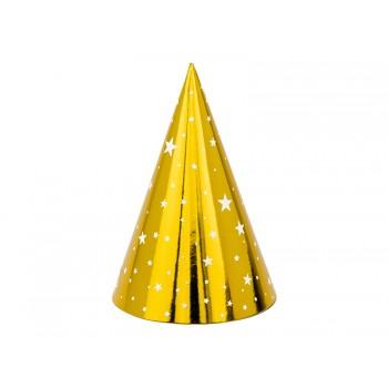 Czapeczki 6szt papierowe złote w gwiazdki