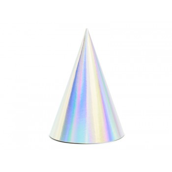 Czapeczki 6szt holograficzne opalizujące papierowe
