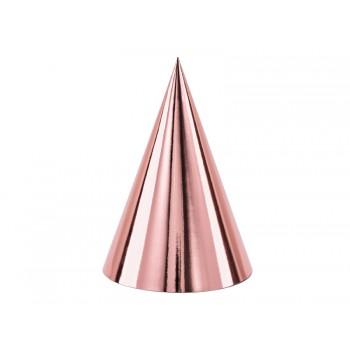 Czapeczki 6szt papierowe różowe złoto