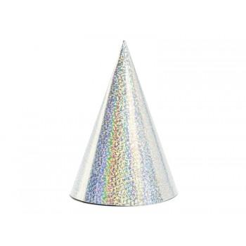 Czapeczki 6szt holograficzne srebrne papierowe