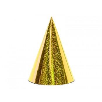 Czapeczki 6szt holograficzne złote papierowe