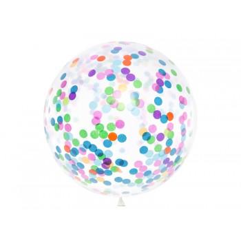Balon z okrągłym konfetti 1m