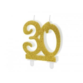 Świeczka urodzinowa liczba 30 złota 7.5cm
