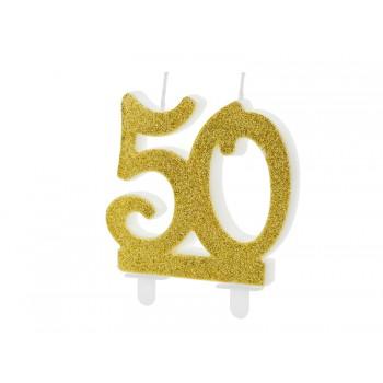 Świeczka urodzinowa liczba 50 złota 7,5cm