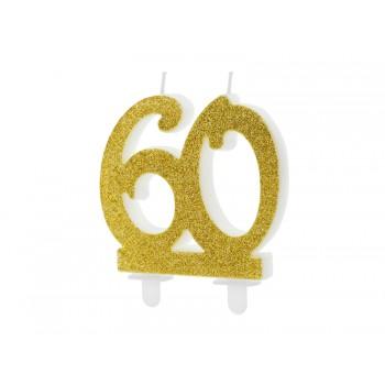Świeczka urodzinowa liczba 60 złota 7.5cm