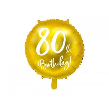 Balon foliowy 80th Birthday złoty 45cm