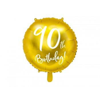 Balon foliowy 90th Birthday złoty 45cm