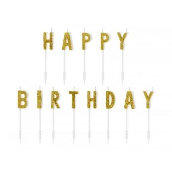 Świeczki urodzinowe Happy Birthday - złote