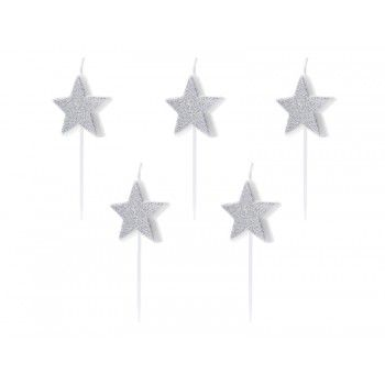 Świeczki urodzinowe Gwiazdki srebrne