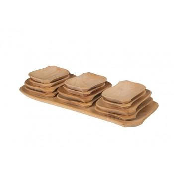 Korytko drewniane 13 el. tace talerze drewniane
