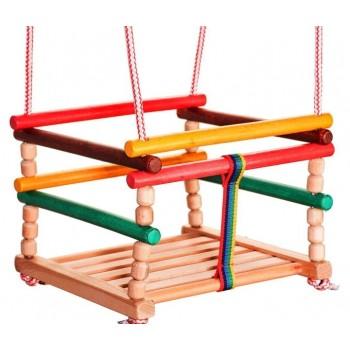 Drewniana huśtawka kolorowa dla dzieci