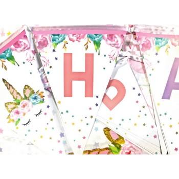 Baner Jednorożec Happy Birthday flagietki