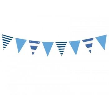 Girlanda papierowa biało-niebieska w paski 1,3m