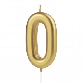 Świeczka cyfra 0 złota na tort
