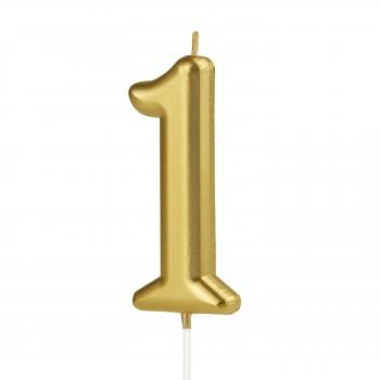 Świeczka cyfra 1 złota na tort