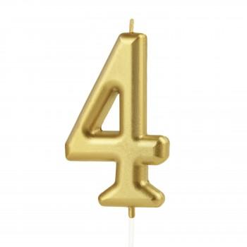 Świeczka cyfra 4 złota na tort