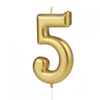 Świeczka cyfra 5 złota na tort
