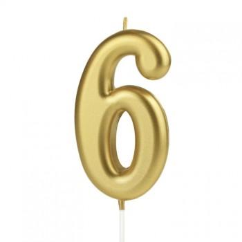 Świeczka cyfra 6 złota na tort