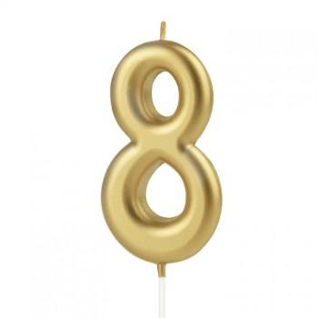 Świeczka cyfra 8 złota na tort