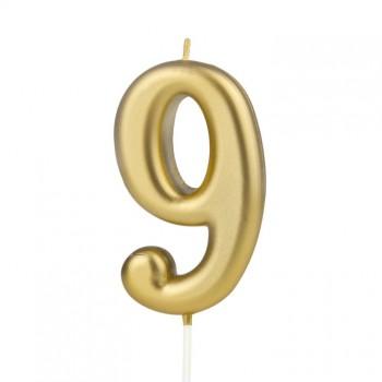 Świeczka cyfra 9 złota na tort