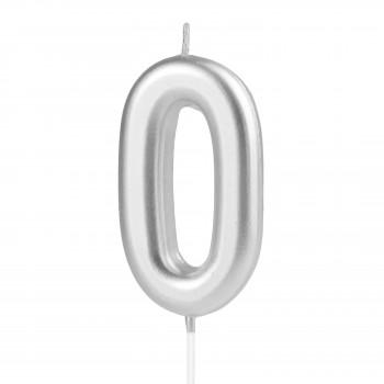 Świeczka cyfra 0 srebrna na tort