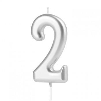 Świeczka cyfra 2 srebrna na tort