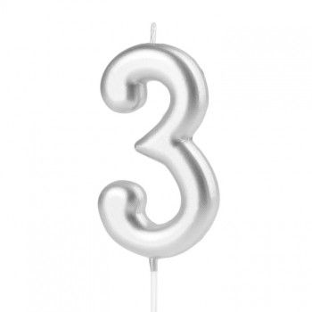 Świeczka cyfra 3 srebrna na tort
