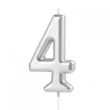 Świeczka cyfra 4 srebrna na tort