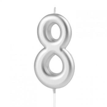 Świeczka cyfra 8 srebrna na tort