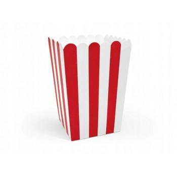 Pudełka na Popcorn 6szt - paski biało czerwone
