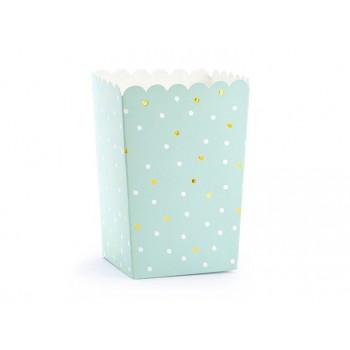 Pudełka na Popcorn 6szt - kropki miętowe