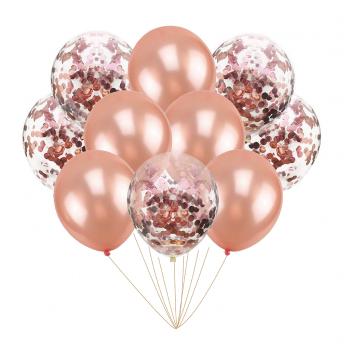 Zestaw balonów rose gold z konfetti 10 szt