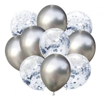Zestaw balonów srebrny chrom 10 szt