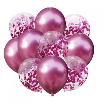 Zestaw balonów ciemny róż chrom 10 szt