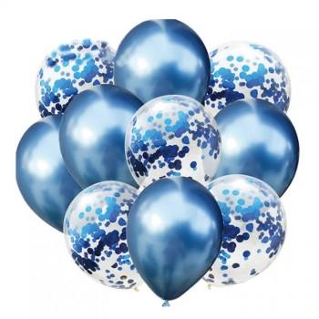 Zestaw balonów niebieski chrom 10 szt