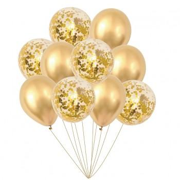 Zestaw balonów złoty 10 szt