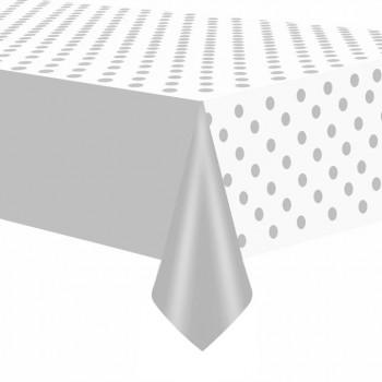 Obrus Srebrny chrom w kropki 137x274cm