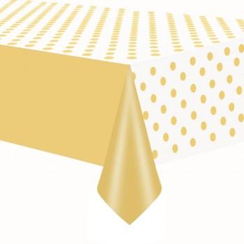 Obrus Złoty chrom w kropki 137x274cm