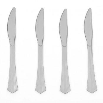 Noże srebrne 20szt plastikowe