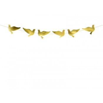 Girlanda papierowa złote Gołębie 86cm