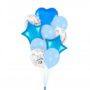 Zestaw balonów NIEBIESKI z konfetti gwiazdki serca