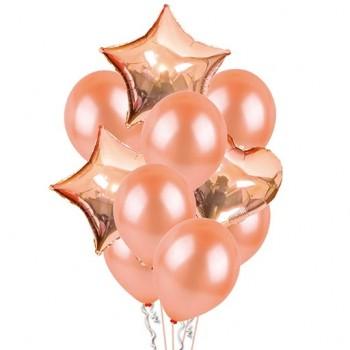 Zestaw balonów RÓŻOWE ZŁOTO  gwiazdki serca