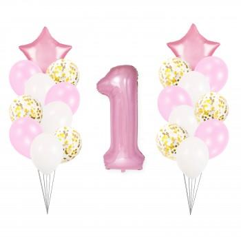 Zestaw balonów na ROCZEK różowy złoty z konfetti